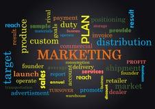 Collage del márketing de palabras en el ejemplo negro del vector del fondo stock de ilustración