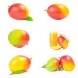 Collage del mango rosso su un fondo bianco isolato Fotografie Stock Libere da Diritti