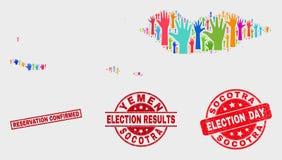 Collage del mapa del archipiélago del Socotra de la votación y del sello confirmado reserva del Grunge ilustración del vector