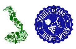 Collage del mapa del vino de la uva de las Islas Galápagos - de Isabela Island y de la mejor filigrana del Grunge del vino stock de ilustración