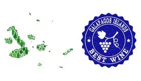 Collage del mapa del vino de la uva de las islas de las Islas Galápagos y del mejor sello del Grunge del vino ilustración del vector