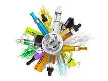 Collage del MOD della batteria del ecig di Vaping isolato Immagine Stock