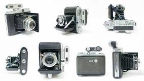 Collage del montaje de la cámara de plegamiento del vintage Imagen de archivo