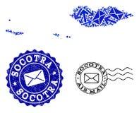 Collage del movimiento del correo del mapa de mosaico del archipiélago del Socotra y de sellos rasguñados stock de ilustración
