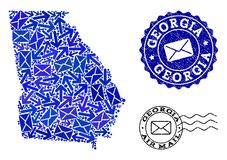 Collage del movimiento del correo del mapa de mosaico de Georgia State y de sellos rasgu?ados libre illustration