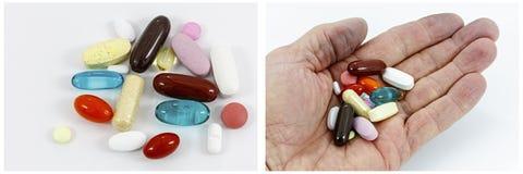 Collage del mucchio della mano di supplemento delle pillole della medicina Immagine Stock Libera da Diritti