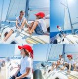 Collage del muchacho de las imágenes con su hermana a bordo del yate de la navegación en travesía del verano Aventura del viaje,  Imagen de archivo