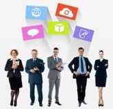 Collage del negocio, los últimos iconos de la tecnología fotografía de archivo libre de regalías