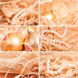 Collage del nuovo anno degli ambiti di provenienza differenti con strow in oro Fotografie Stock Libere da Diritti
