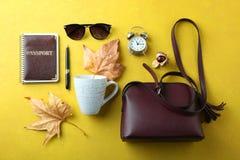 Collage del otoño de accesorios femeninos Imagen de archivo libre de regalías