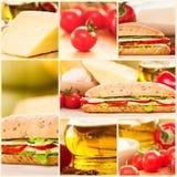Collage del panino delle verdure e del formaggio Immagini Stock