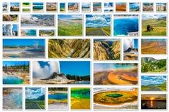 Collage del parque nacional de Yellowstone Imagen de archivo libre de regalías