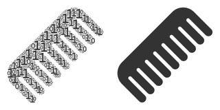 Collage del pettine delle cifre binarie illustrazione vettoriale