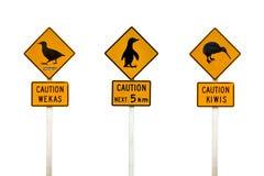 Collage del pingüino de Nueva Zelanda, del weka y de la señal de tráfico de los kiwis Imagen de archivo libre de regalías