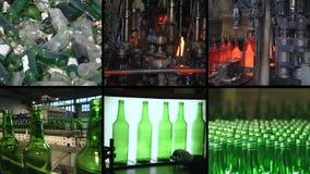 Collage del reciclaje de cristal y de la producción de la botella en fábrica almacen de metraje de vídeo