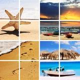 Collage del recorrido del tiempo de verano Imagenes de archivo