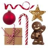 Collage del regalo, della decorazione e dei dolci di Natale isolati su bianco Fotografia Stock