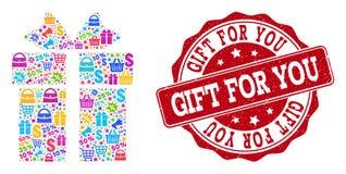 Collage del regalo del mosaico e guarnizione strutturata da vendere illustrazione di stock