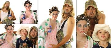 Collage del retrato de la familia del Hillbilly del campesino sureño Imágenes de archivo libres de regalías