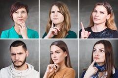 Collage del retrato de la gente imagenes de archivo
