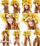 Collage del retrato de la muchacha con la guirnalda del otoño de hojas de arce en la cabeza en fondo blanco aislado Fotografía de archivo libre de regalías