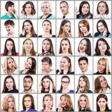 Collage del retrato de muchas caras sonrientes Imagen de archivo libre de regalías