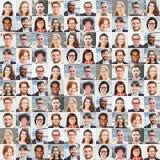 Collage del ritratto della gente di affari in gruppo di concetto fotografia stock libera da diritti