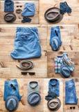 Collage del sistema de diversos ropa y accesorios para los hombres Imagen de archivo