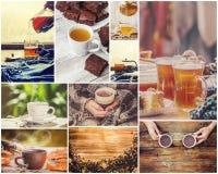 Collage del té Foco selectivo foto de archivo