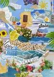 Collage del tablero del humor de la atmósfera de la estación de vacaciones de verano foto de archivo libre de regalías