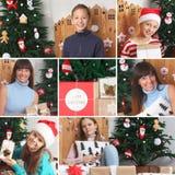 Collage del tema de la Navidad Caras felices Árbol de navidad decoraciones Regalos Foto de archivo
