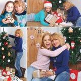 Collage del tema de la Navidad Familia feliz cerca del árbol de navidad con los regalos Fotos de archivo