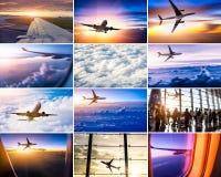 Collage del tema dell'aeroplano Immagini Stock