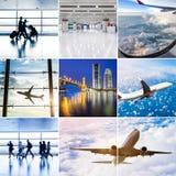 Collage del tema dell'aeroplano Fotografia Stock Libera da Diritti