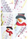 Collage del termometro del pupazzo di neve Fotografie Stock Libere da Diritti