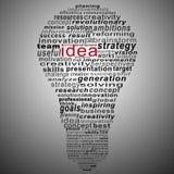 Collage del testo di idea composto sotto forma della lampadina royalty illustrazione gratis