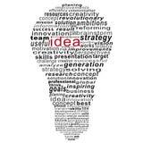 Collage del texto de la idea compuesto en la forma de bulbo ilustración del vector