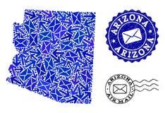 Collage del tr?fico de correo del mapa de mosaico de los sellos del estado y de la desolaci?n de Arizona libre illustration