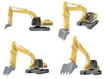 Collage del veicolo isolato della costruzione Immagini Stock Libere da Diritti