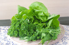 Collage del verde y de la ensalada del jugo Foto de archivo