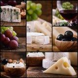Collage del vino e del formaggio Fotografia Stock