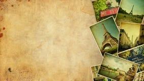 Collage del vintage. Espacio en blanco del viaje de París. Imágenes de archivo libres de regalías