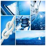 Collage del yate del barco de vela. Navegación
