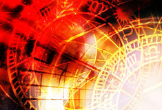 Collage del zodiaco en espacio cósmico Fondo abstracto del color Foto de archivo libre de regalías