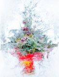Collage . delicate bouquet of flowers in the ice Royalty Free Stock Image