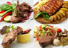 Collage of delicious beef meals Stock Photos