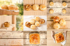Collage of delicious buns and bread. Bakery product collage. Collage of tasty different buns and bread. Tasty cooking for you. Cooking process. Concept Royalty Free Stock Photography