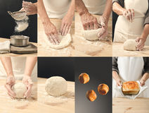 Collage of delicious buns and bread. Bakery product collage. Collage of tasty different buns and bread. Tasty cooking for you. Cooking process. Concept Royalty Free Stock Photos