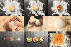 Collage of delicious buns and bread. Bakery product collage. Collage of tasty different buns and bread. Tasty cooking for you. Cooking process. Concept Royalty Free Stock Images