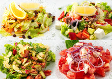 Collage of delicious diet salad Stock Photography
